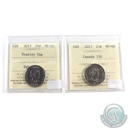 2017 Canada 25-cent Stanley Cup & Canada 150 ICCS Certified MS-66. 2pcs
