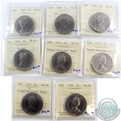 Lot of 8x Canada ICCS Certified MS-64 Nickel $1 Dated 1968, 1968 No Island, 1969, 1974, 1975 Attache