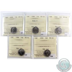 1978, 1980 Wide 0, 1982, 1986 & 1990 Canada 10-cent ICCS Certified MS-64. 5pcs