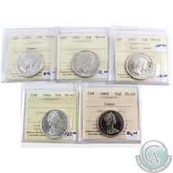 Lot of 5x Canada 50-cent ICCS Certified Coins. You will receive 1960 PL-65 Cameo, 1962 MS-60, 1963 M