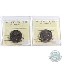 2013 & 2014 Canada 50-cent ICCS Certified MS-65. 2pcs