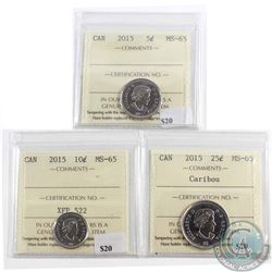 2015 Canada 5-cent, 10-cent & 25-cent ICCS Certified MS-65. 3pcs