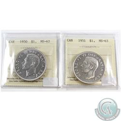 1950 Canada Silver $1 ICCS Certified MS-62 & 1951 Silver $1 MS-63. 2pcs