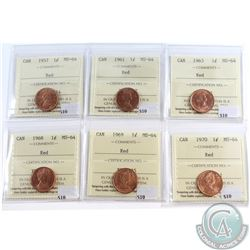 Lot of 6x Canada 1-cent ICCS Certified MS-64 Red Dated 1957, 1961, 1963, 1968, 1969 & 1970. 6pcs