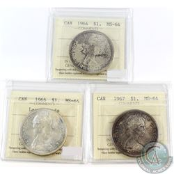Lot of 3x Canada Silver $1 ICCS Certified MS-64 Dated 1964, 1966 Large Beads & 1967. 3pcs