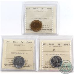 Lot of 3x Canada 5-cent ICCS Certified MS-63 Dated 1943, 1944 & 1953 SF. 3pcs