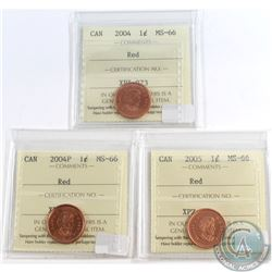 Lot of 3x Canada 1-cent ICCS Certified MS-66 Red Dated 2004, 2004P & 2005. 3pcs
