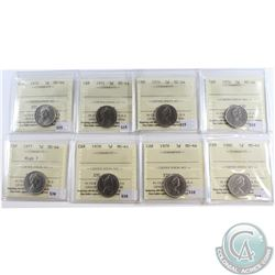 Lot of 8x Canada 5-cent ICCS Certified MS-64 Dated 1970, 1971, 1974, 1976, 1977 High 7, 1979 & 1980.