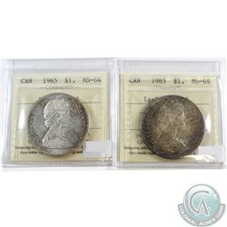Lot of 2x 1965 Canada Silver $1 ICCS Certified MS-64. You will receive Small Beads Pointed 5 & Large