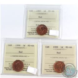 Lot of 3x Canada 1-cent ICCS Certified MS-66 Dated 1997-1999. 3pcs