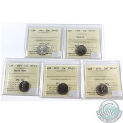 Lot of 5x Canada 10-cent ICCS Certified MS-65 Dated 1962, 1968, 1969 Small Date, 1970 & 1976. 5pcs