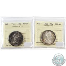 1962 & 1966 Canada Silver 50-cent ICCS Certified MS-64. 2pcs