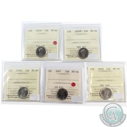 Lot of 2002-2008 Canada 10-cent ICCS Certified MS-66. You will receive the following dates, 2002P, 2