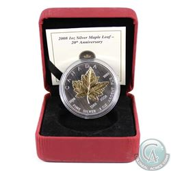 1988-2008 Canada $5 20th Anniversary Silver Maple Leaf with Gold Plating (small toning spot on coin,