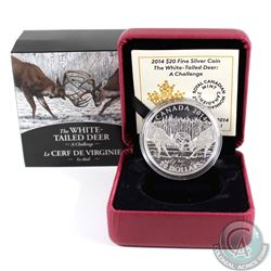2014 Canada $20 White-Tailed Deer - A Challenge Fine Silver Coin (capsule very lightly scratched). T