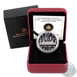 1935-2010 Canada $1 Voyageur Limited Edition Proof Sterling Silver Dollar (coin is toned & capsule l