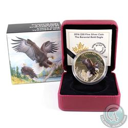 2016 Canada $20 Majestic Animals - Baronial Bald Eagle Fine Silver Coin (coin has been Gold plated &
