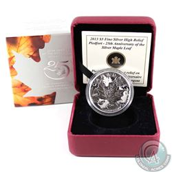 2013 Canada $5 25th Anniversary of the Silver Maple Leaf Piedfort Fine Silver Coin (outer cardboard