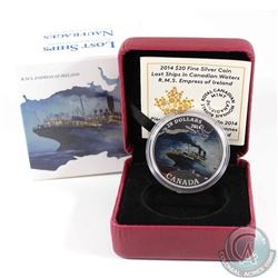 2014 $20 Lost Ships in Canadian Waters - Empress of Ireland Fine Silver Coin (capsule lightly scratc