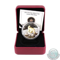 2014 Canada $20 Iconic Polar Bear Fine Silver Coin (missing outer cardboard sleeve). TAX Exempt