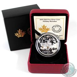 2015 Canada $20 Holiday Reindeer Fine Silver Coin (outer cardboard sleeve has small corner dent). TA