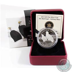 2013 Canada $20 The Bald Eagle - Lifelong Mates Fine Silver Coin (capsule is scuffed). TAX Exempt