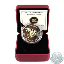 2013 $20 Butterflies of Canada - Canadian Tiger Swallowtail Fine Silver Coin (capsule has scratches)