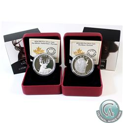 2014 Canada $20 The White-Tailed Deer Portrait & 2014 $20 The Bison Portrait Fine Silver Coins. 2pcs