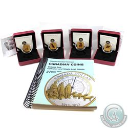 Lot of All 4x 2010-2011 Canada $3 Wildlife Conservation Series Sterling Silver Gold Plated Coins. 4p