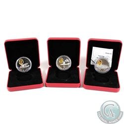 Lot of 3x Canada $20 Aviation Series Sterling Silver Gold Plated Coins. You will receive 1991 Silver