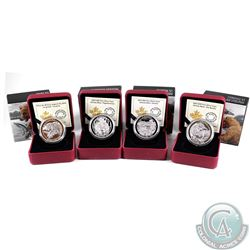 Lot of 4x 2015-2016 Canada $20 Grizzly Bear Series Fine Silver Coins - Family, The Catch, The Battle