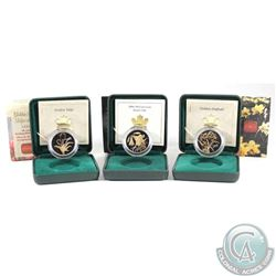 Lot of 3x 2002-2004 Canada 50-cent Floral Series Sterling Silver Gold Plated Coins - Golden Tulip, D