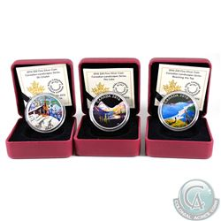 Lot of 3x 2016 Canadian Landscapes Series $20 Fine Silver Coins - The Lake, Ski Chalet & Reaching th
