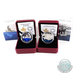 Pair of 2016 & 2017 Iconic Canada $20 Fine Silver Coins - 2016 The Polar Bear (capsule lightly scrat