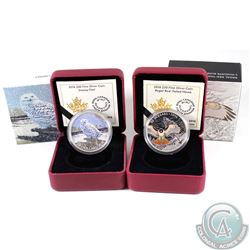 2016 Canada $20 Snowy Owl & 2016 $20 Regal Red-Tailed Hawk Fine Silver Coins (capsules lightly scrat