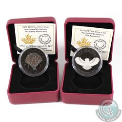 2017 Canada $20 Nocturnal By Nature - The Barn Owl & The Little Brown Bat Fine Silver Coins (missing