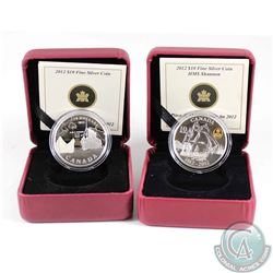 2012 Canada $10 R.M.S. Titanic & 2012 $10 War of 1812 - HMS Shannon Fine Silver Coins (missing outer