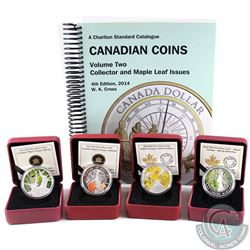 Lot of 4x 2013-2014 Canada $20 Canadian Maple Canopy Fine Silver Coloured Coins - 2013 Spring, 2013