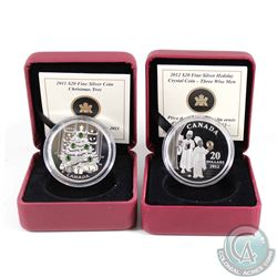 2011 Canada $20 Christmas Tree & 2012 $20 The Three Wise Men Fine Silver Coins (missing outer cardbo