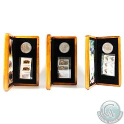 Lot of 3x Canada Coin & Stamp Sets. You will receive the Moose, Cougar and Bison sets with the corre