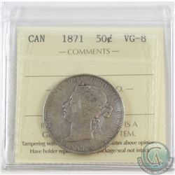 1871 Canada 50-cent ICCS Certified VG-8 (scratched)
