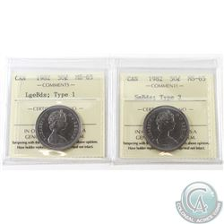 1982 Canada 50-cent LgeBds Type 1 & 1982 50-cent SmBds Type 2 ICCS Certified MS-65. 2pcs