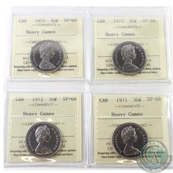 1971, 1972, 1973 & 1975 Canada 50-cent ICCS Certified SP-66 Heavy Cameo. 4pcs