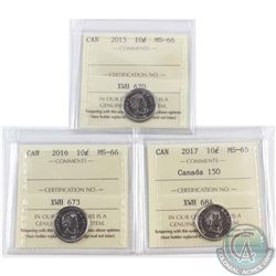 2015 Canada 10-cent ICCS Certified MS-66, 2016 10-cent MS-66 & 2017 10-cent Canada 150 MS-65. 3pcs