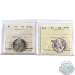 1949 Canada 25-cent ICCS Certified MS-63 & 1958 25-cent MS-64. 2pcs