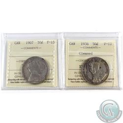 1907 Canada 50-cent ICCS Certified F-15 & 1936 50-cent F-12 (cleaned). 2pcs