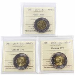2016 Canada $2 ICCS Certified MS-65, 2017 $2 Canada 150 MS-65 & 2017 $2 Canada 150 MS-66. 3pcs