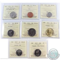 Lot of 8x Canada ICCS Certified Coins. You will receive 1998 1-cent MS-66, 2017 5-cent Canada 150 MS