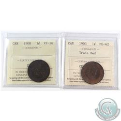 1900 Canada 1-cent ICCS Certified VF-30 & 1903 1-cent MS-62 Trace Red. 2pcs