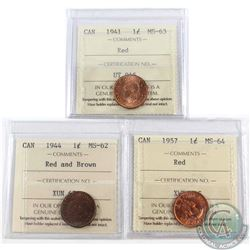 Lot of 3x Canada 1-cent ICCS Certified Dated 1941 MS-63, 1944 MS-62 Red/Brown & 1957 MS-64. 3pcs